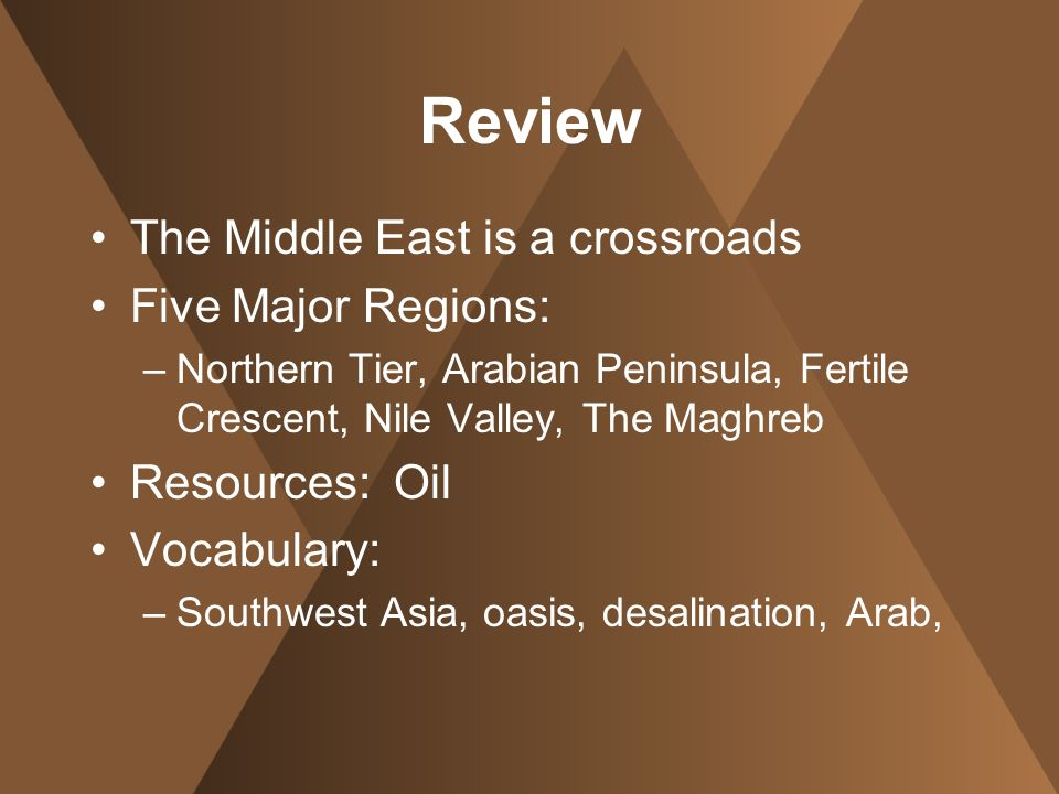 Review The Middle East is a crossroads Five Major Regions: