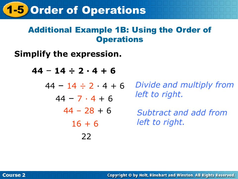 Additional Example 1B: Using the Order of Operations