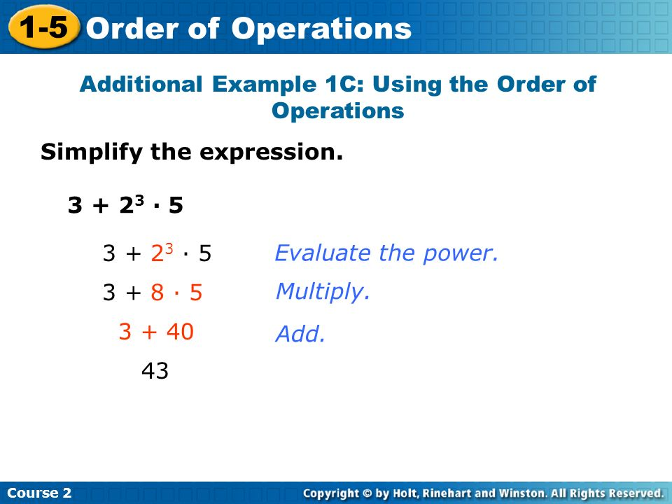 Additional Example 1C: Using the Order of Operations