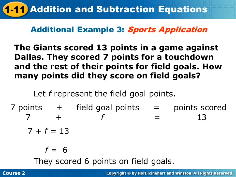 Additional Example 3: Sports Application