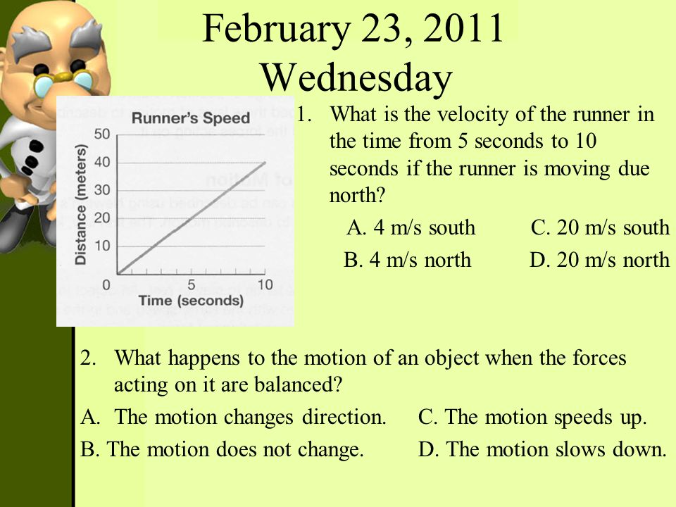 February 23, 2011 Wednesday What is the velocity of the runner in the time from 5 seconds to 10 seconds if the runner is moving due north