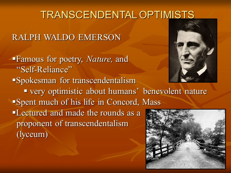 TRANSCENDENTAL OPTIMISTS