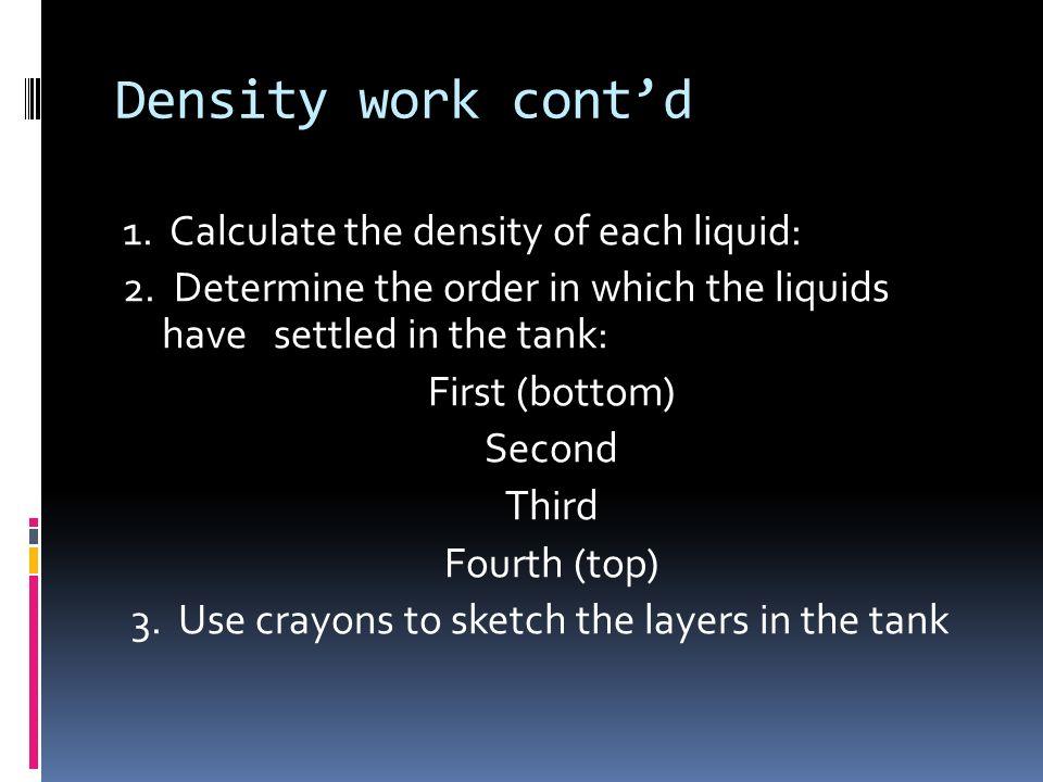 Density work cont'd