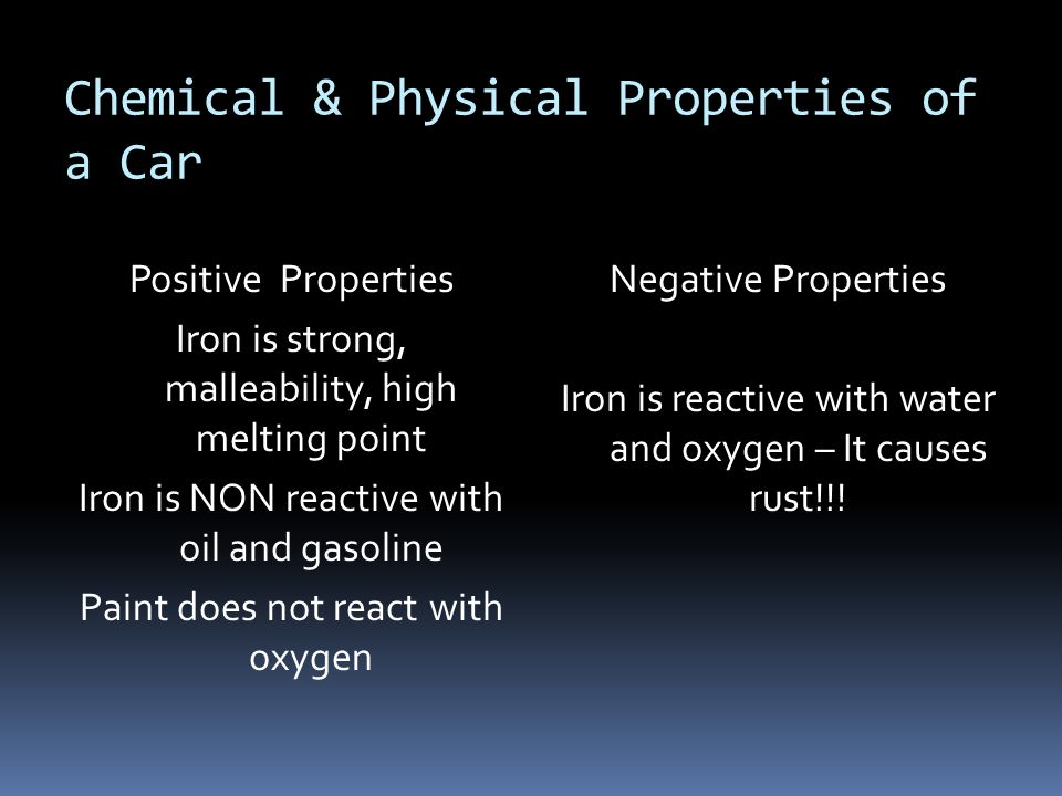 Chemical & Physical Properties of a Car