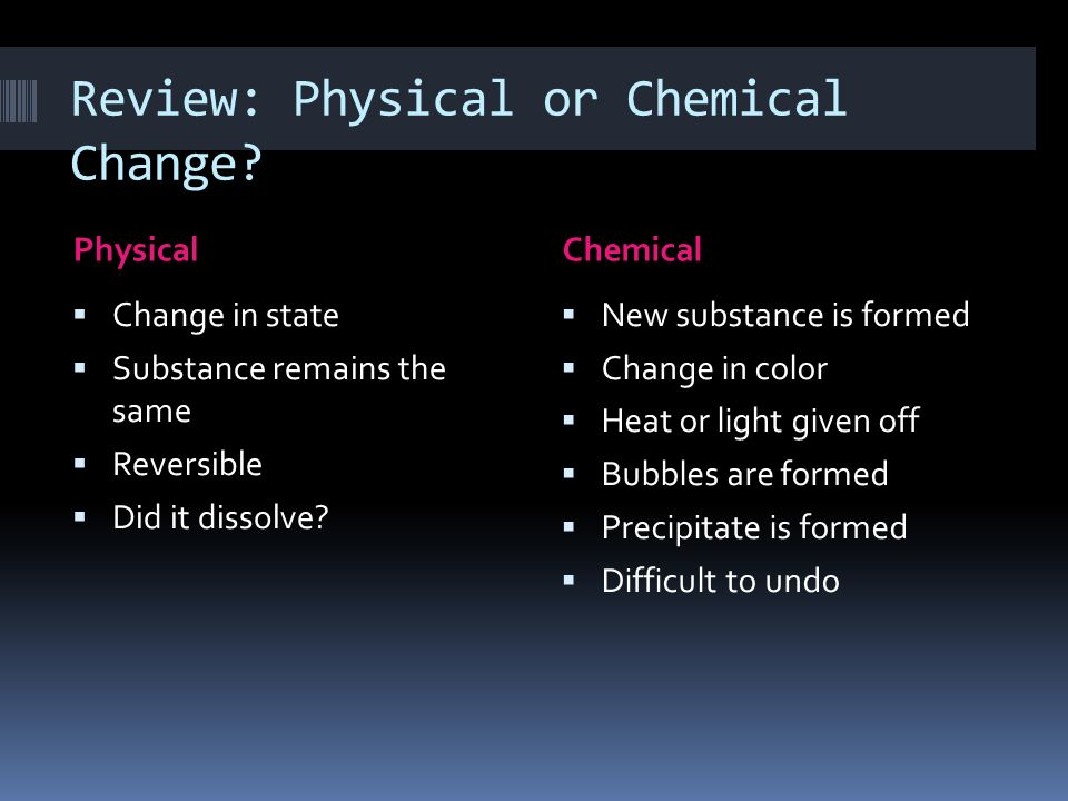 Review: Physical or Chemical Change