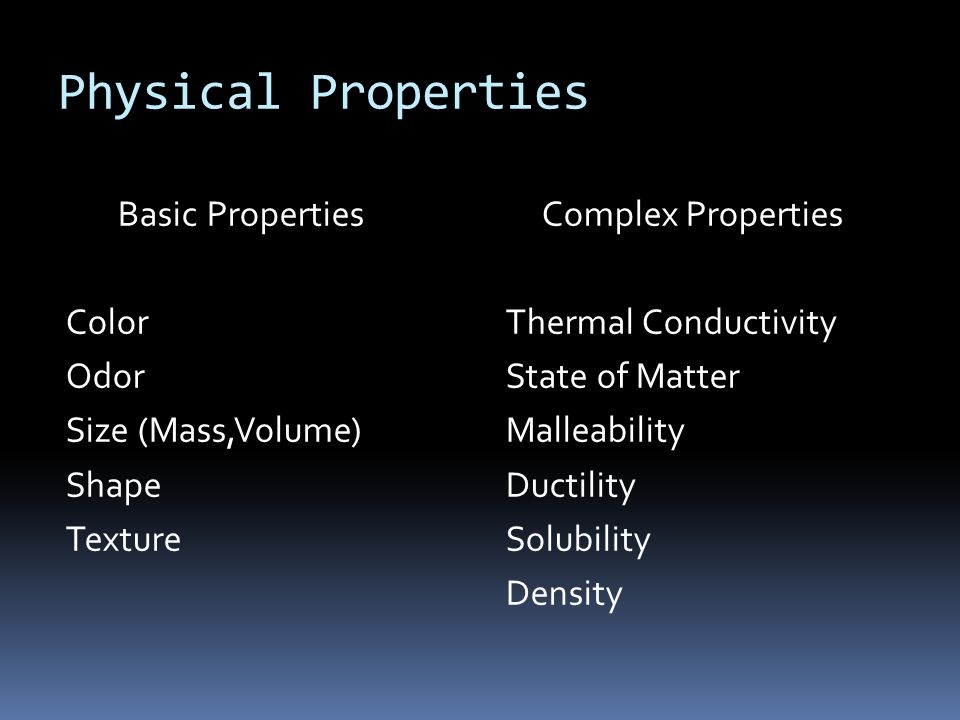 Physical Properties Basic Properties Color Odor Size (Mass,Volume)