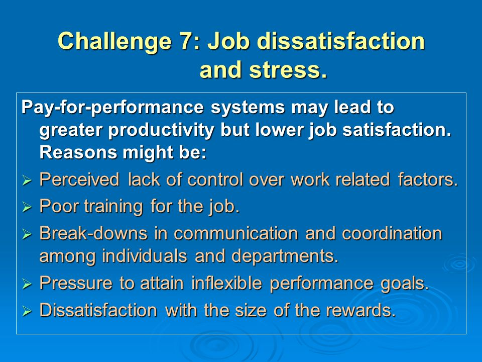 job satisfaction stress and motivation That job satisfaction was dependent on work motivation  the benefits of stress  knowledge in relation to satisfaction and goal achievement in the industry.