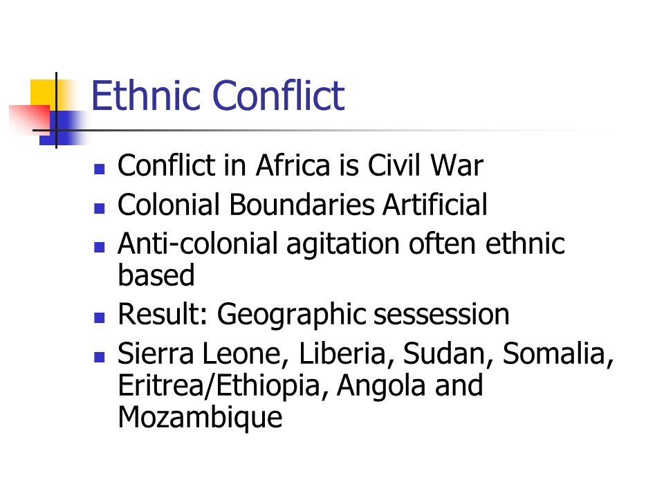 ethnic conflict in africa essays In the light of these dimensions, we can consider african conflicts as belonging to the following six types: inter-ethnic conflicts, inter-state conflicts, liberation conflicts, civil rights.