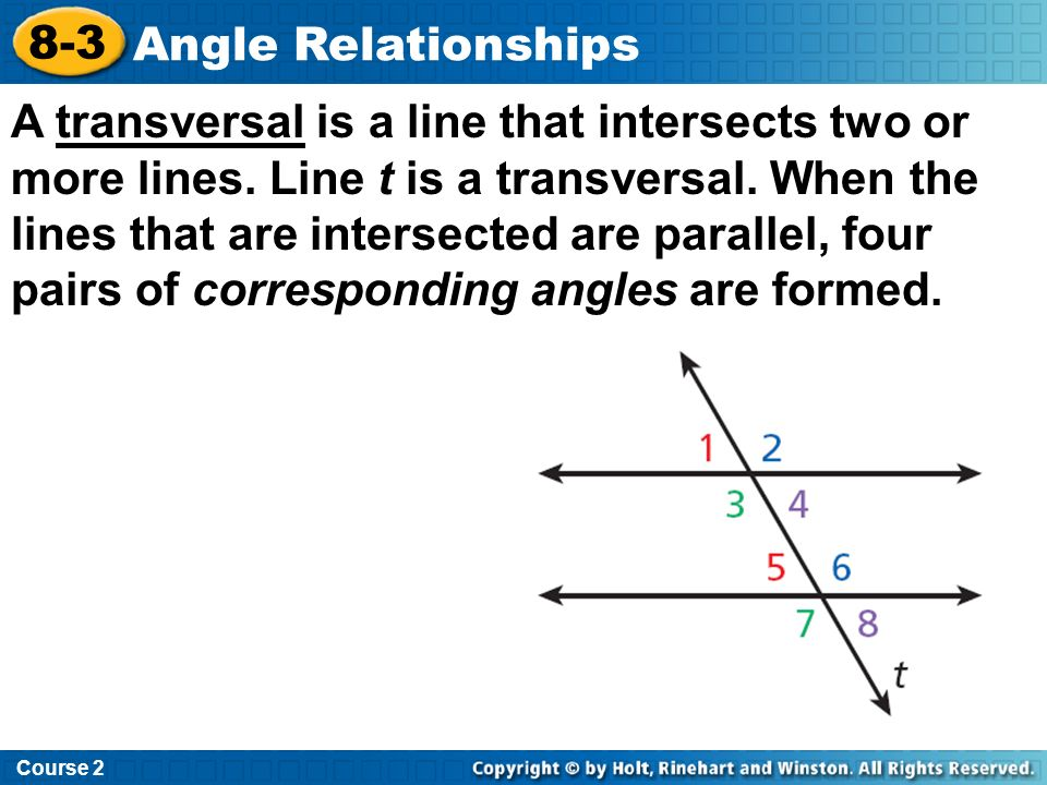 Course 2 8-3. Angle Relationships.