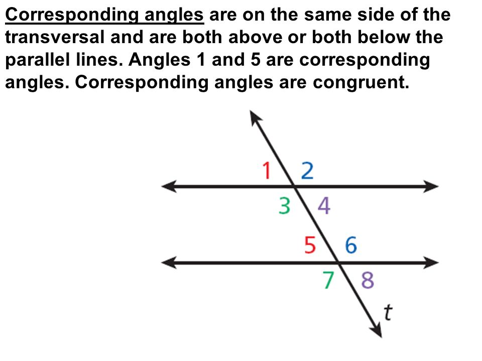Corresponding angles are on the same side of the transversal and are both above or both below the parallel lines.
