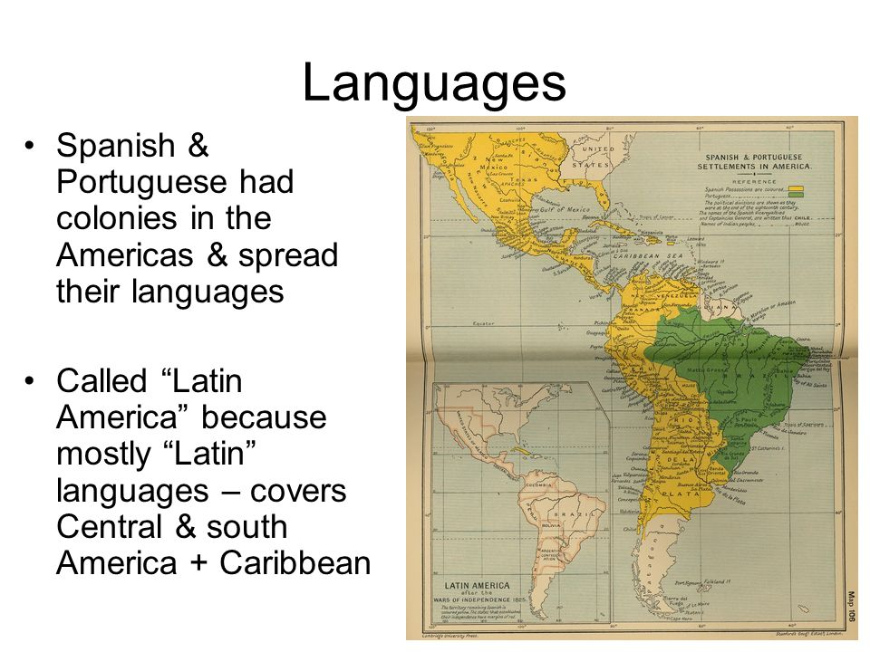 Languages Spanish & Portuguese had colonies in the Americas & spread their languages.