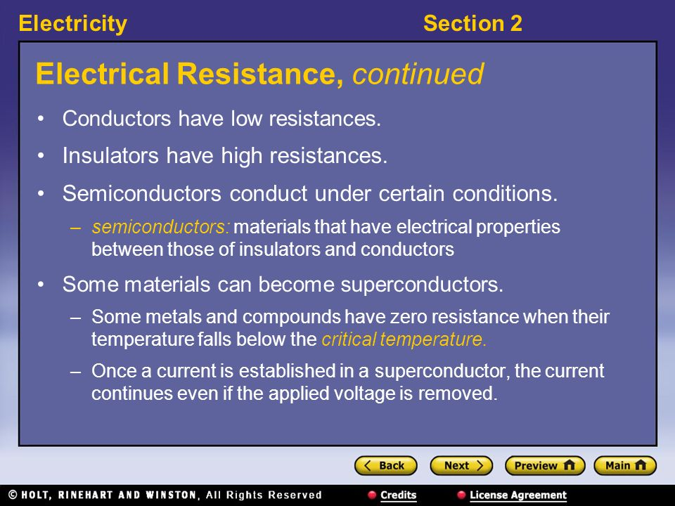 Electrical Resistance, continued