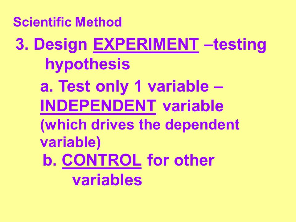 3. Design EXPERIMENT –testing hypothesis