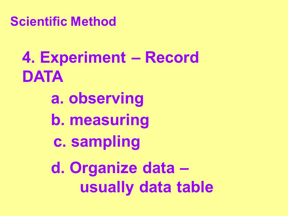 4. Experiment – Record DATA