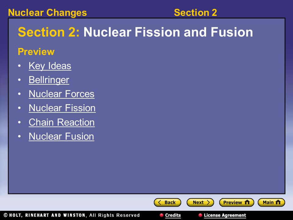 Section 2: Nuclear Fission and Fusion