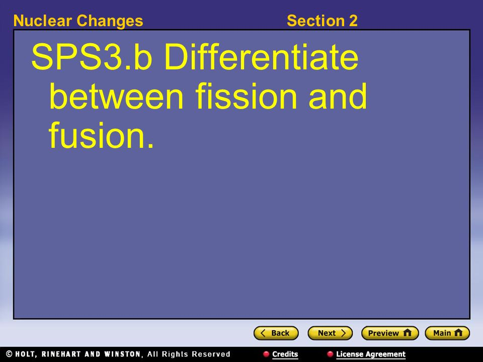 SPS3.b Differentiate between fission and fusion.