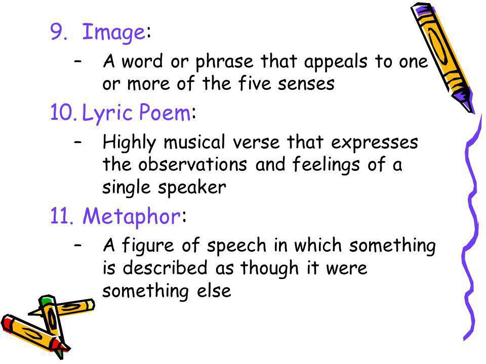 Image: Lyric Poem: Metaphor: