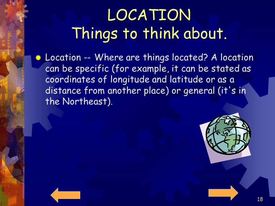 LOCATION Things to think about.