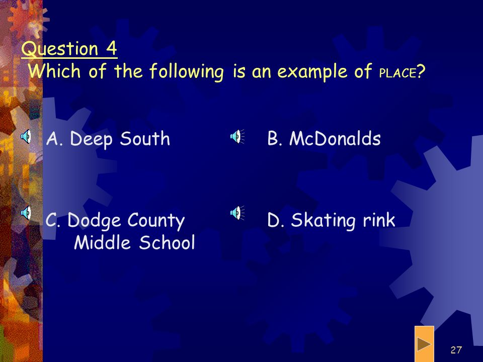 Question 4 Which of the following is an example of PLACE