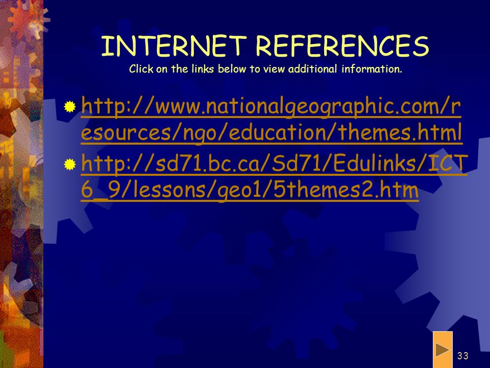 INTERNET REFERENCES Click on the links below to view additional information.