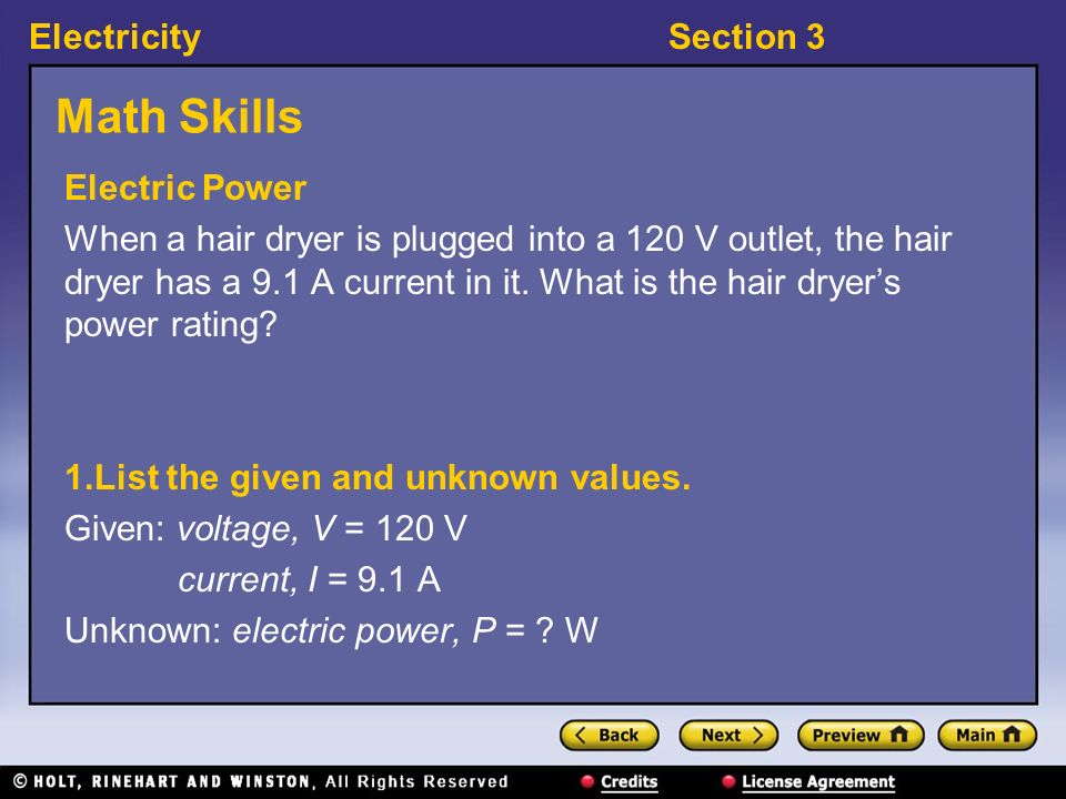 Math Skills Electric Power