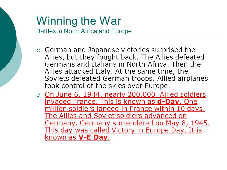 Winning the War Battles in North Africa and Europe