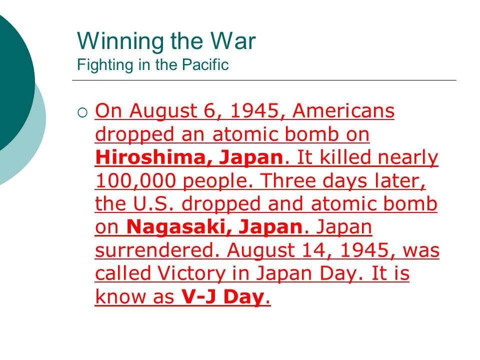 Winning the War Fighting in the Pacific