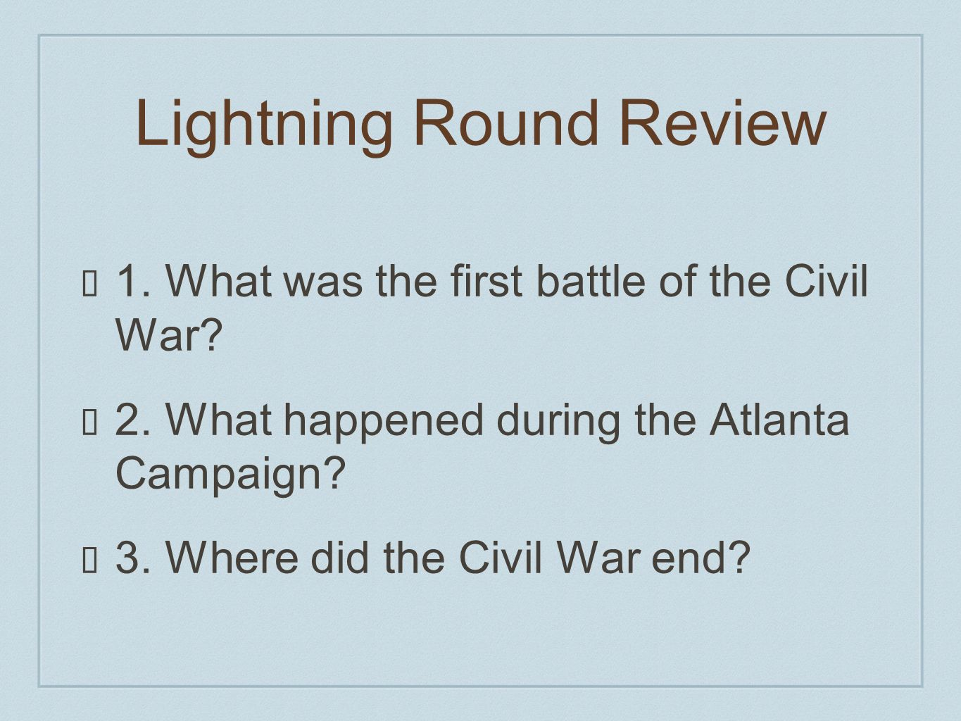 Lightning Round Review