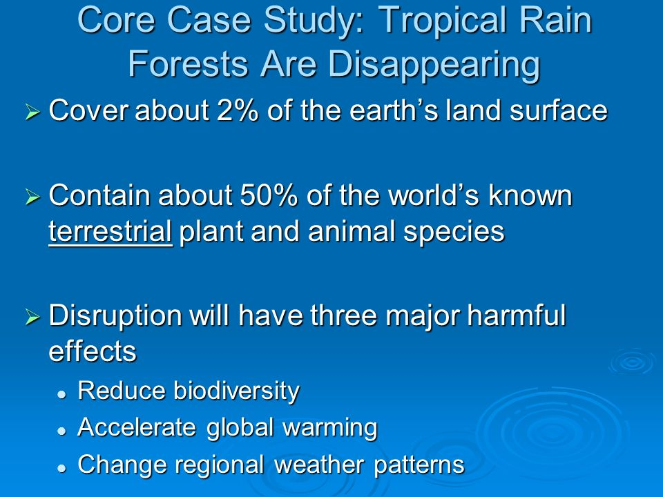 Core Case Study: Tropical Rain Forests Are Disappearing