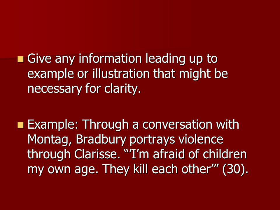 Give any information leading up to example or illustration that might be necessary for clarity.