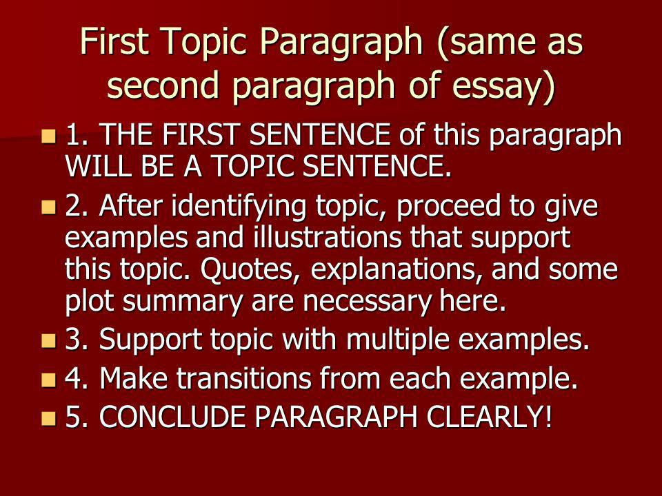 First Topic Paragraph (same as second paragraph of essay)