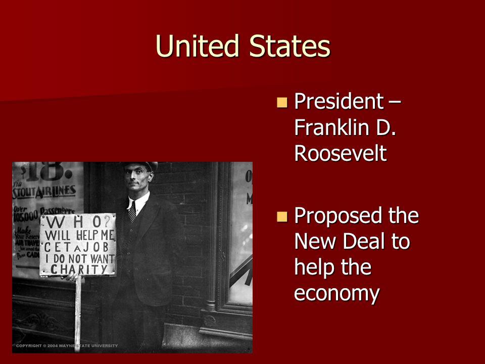 United States President – Franklin D. Roosevelt