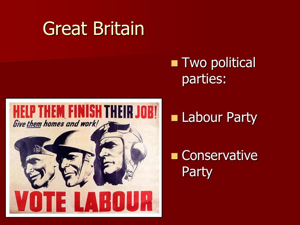 Great Britain Two political parties: Labour Party Conservative Party