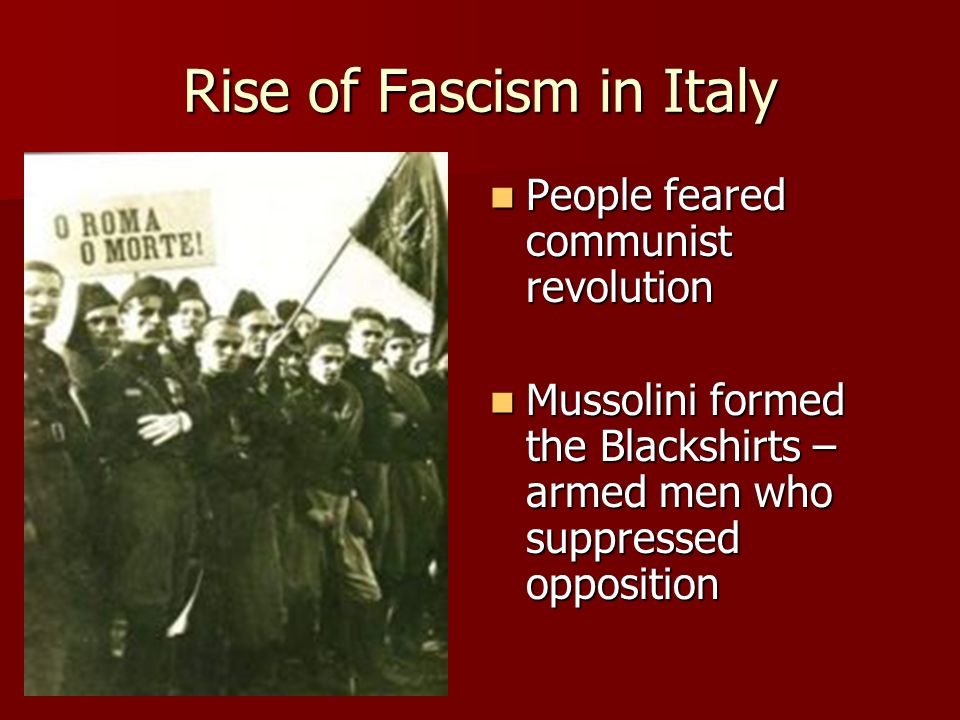 Rise of Fascism in Italy