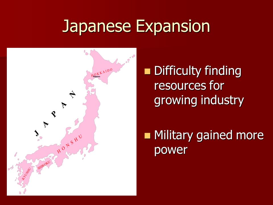 Japanese Expansion Difficulty finding resources for growing industry