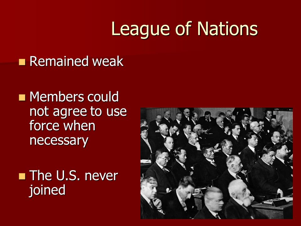 League of Nations Remained weak