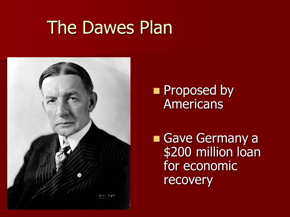 The Dawes Plan Proposed by Americans