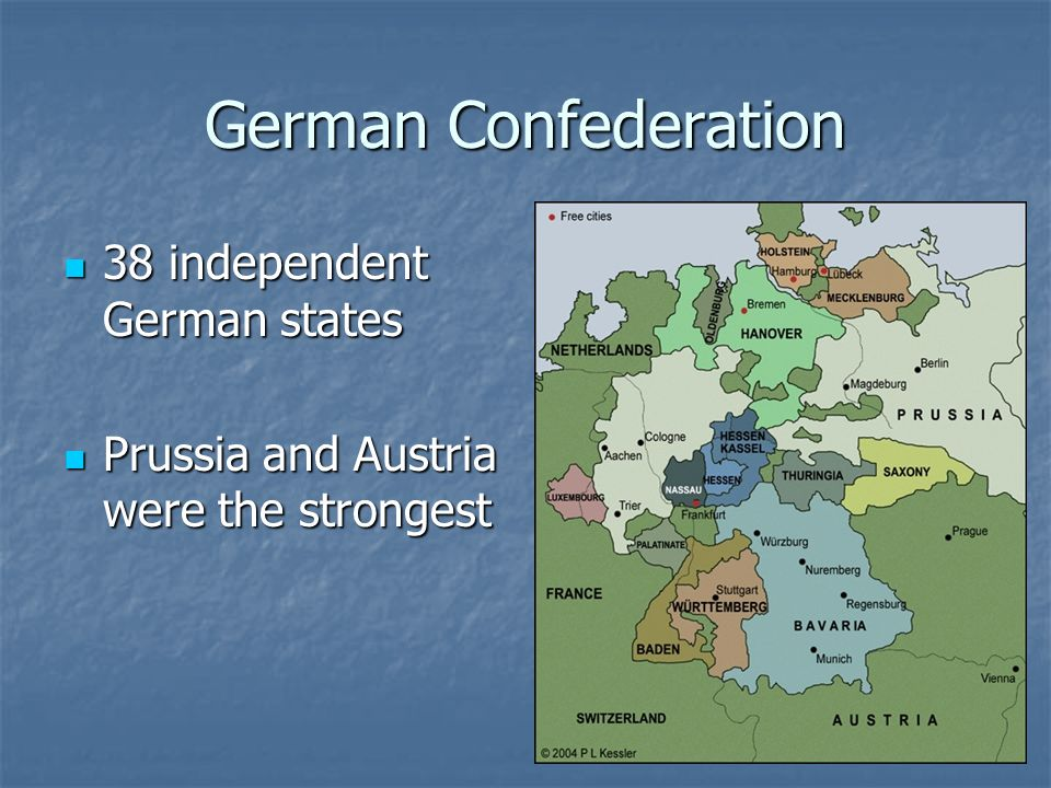 German Confederation 38 independent German states