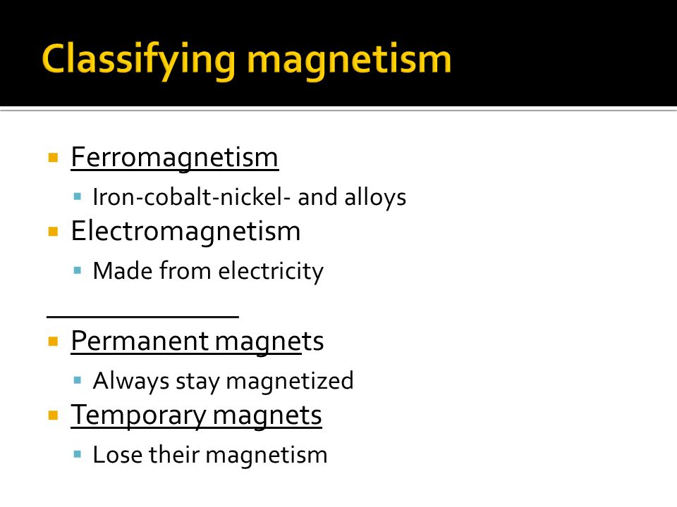Classifying magnetism