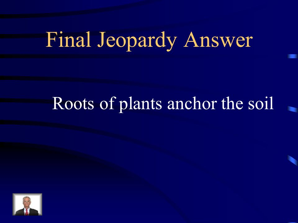 Final Jeopardy Answer Roots of plants anchor the soil