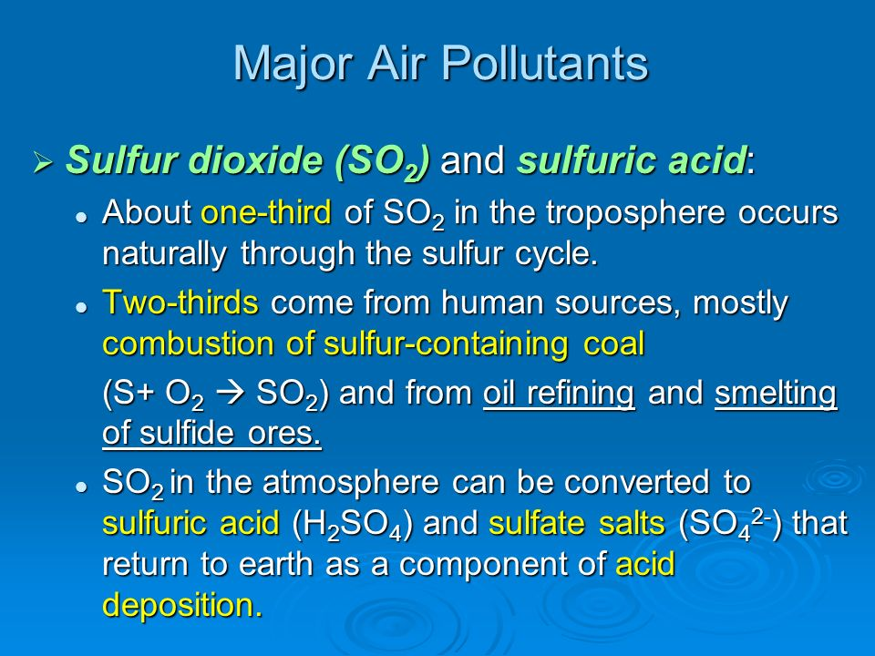 Major Air Pollutants Sulfur dioxide (SO2) and sulfuric acid: