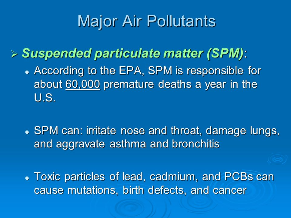 Major Air Pollutants Suspended particulate matter (SPM):