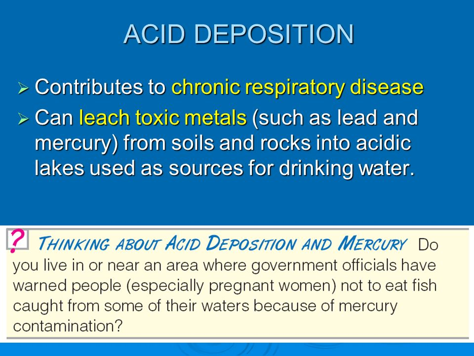 ACID DEPOSITION Contributes to chronic respiratory disease