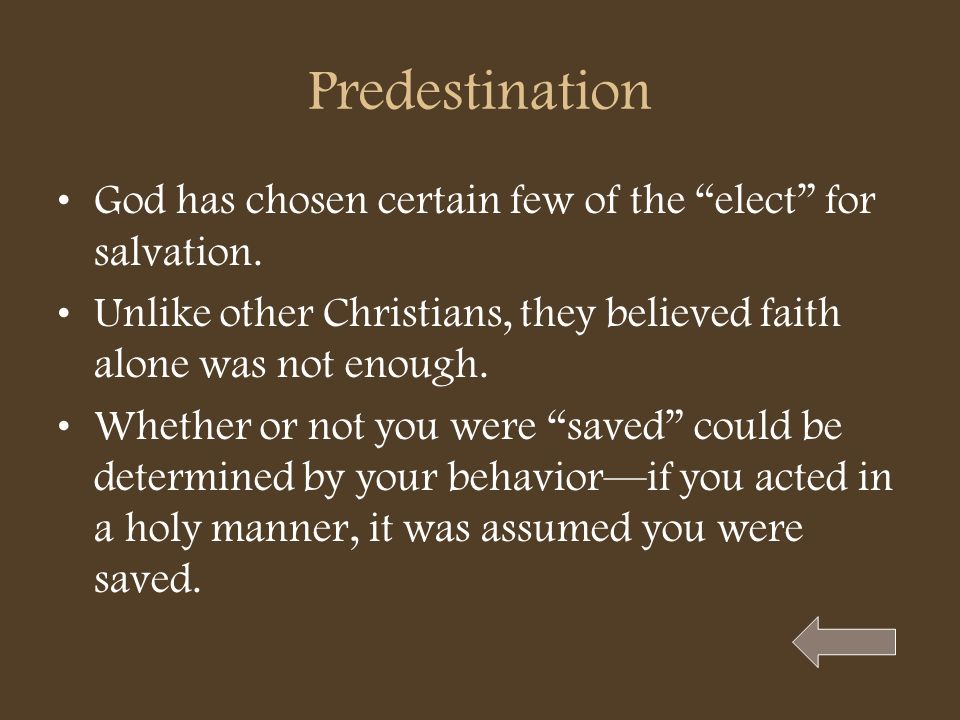 PredestinationGod has chosen certain few of the elect for salvation. Unlike other Christians, they believed faith alone was not enough.