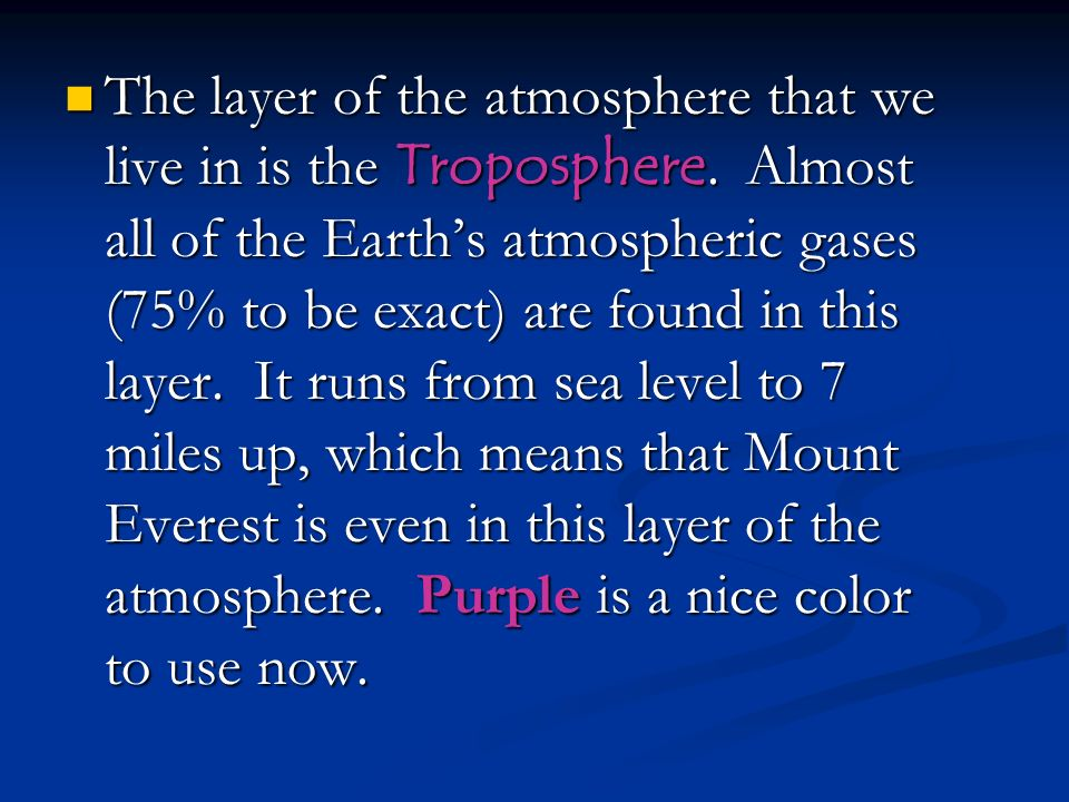 The layer of the atmosphere that we live in is the Troposphere
