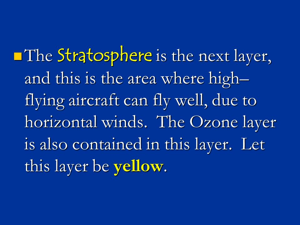 The Stratosphere is the next layer, and this is the area where high–flying aircraft can fly well, due to horizontal winds.