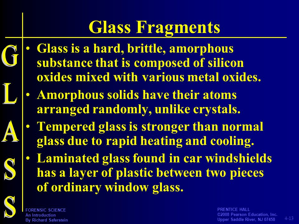 Glass Fragments Glass is a hard, brittle, amorphous substance that is composed of silicon oxides mixed with various metal oxides.