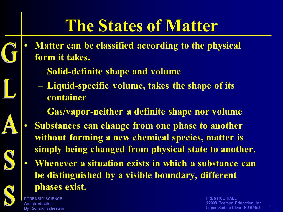 The States of Matter GLASS