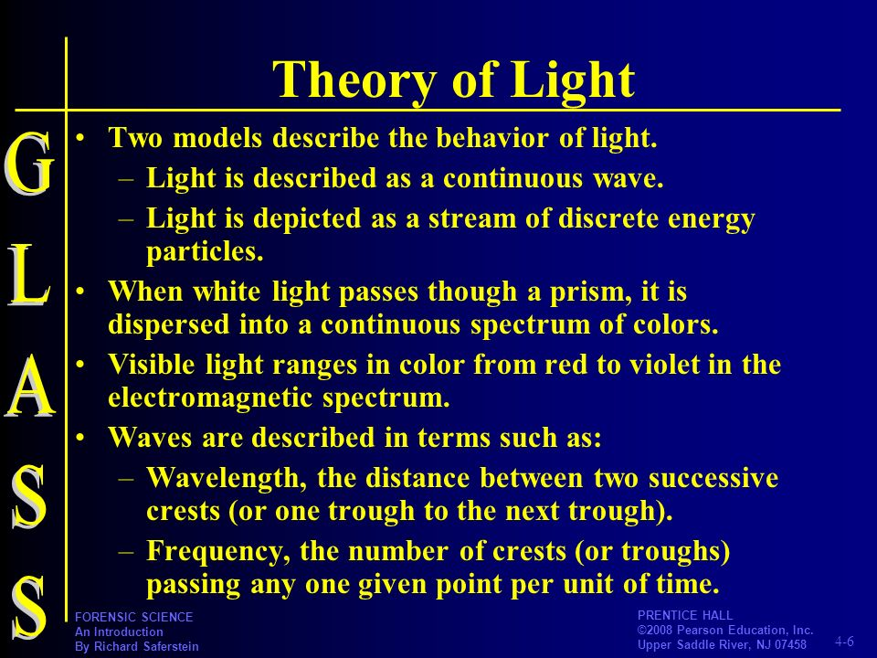 Theory of Light GLASS Two models describe the behavior of light.