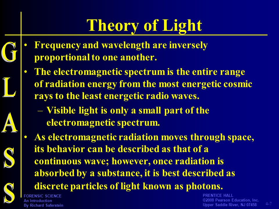 Theory of Light Frequency and wavelength are inversely proportional to one another.
